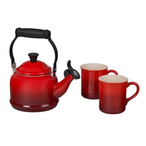 Le Creuset 3-Piece Demi Kettle & 2 Coffee Mugs Set, Cerise