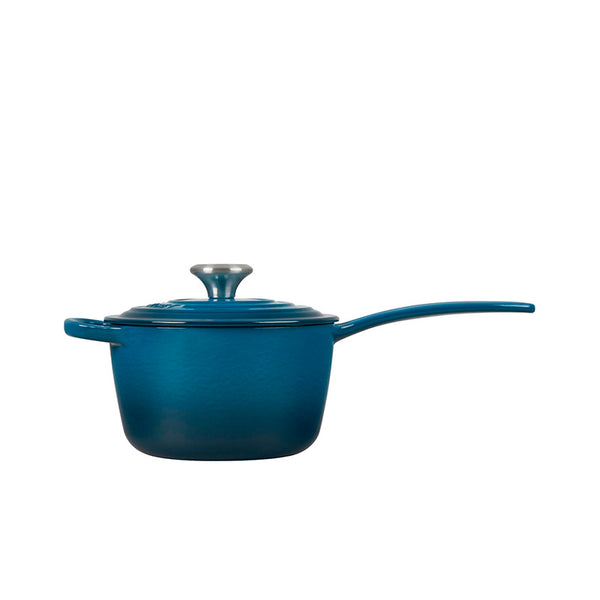 Le Creuset Signature Enameled Cast Iron Sauce Pan with Lid, 1.75 qt, Deep Teal