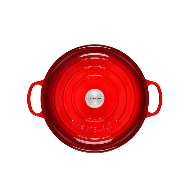 Le Creuset Signature Braiser with Stainless Steel Knob, 5 qt, Cerise - Kitchen Universe
