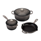 Le Creuset 5 Piece Signature Enameled Cast Iron Cookware Set, Oyster