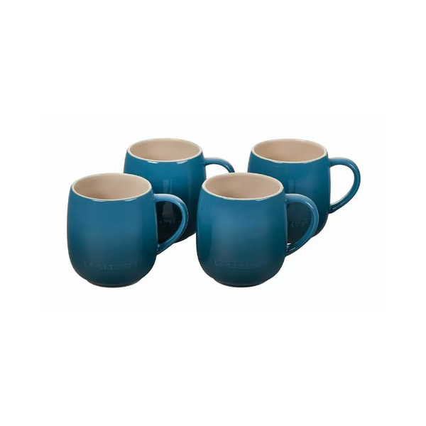 Le Creuset Heritage Stoneware Mugs Set of 4, 13-oz, Deep Teal