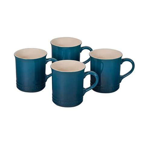 Le Creuset Stoneware Set of 4 Mugs, 14-oz, Deep Teal
