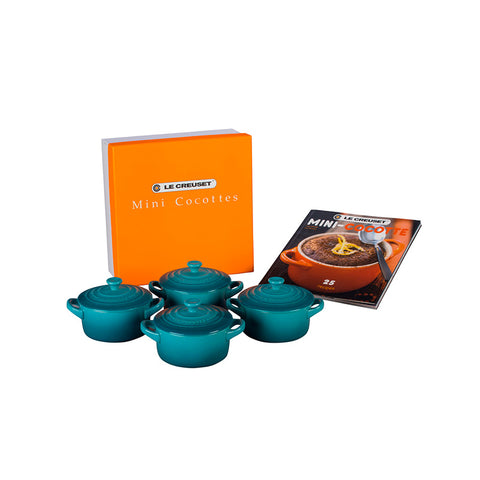 Le Creuset Set of 4 Mini Cocottes with Cookbook, 8 oz. Caribbean