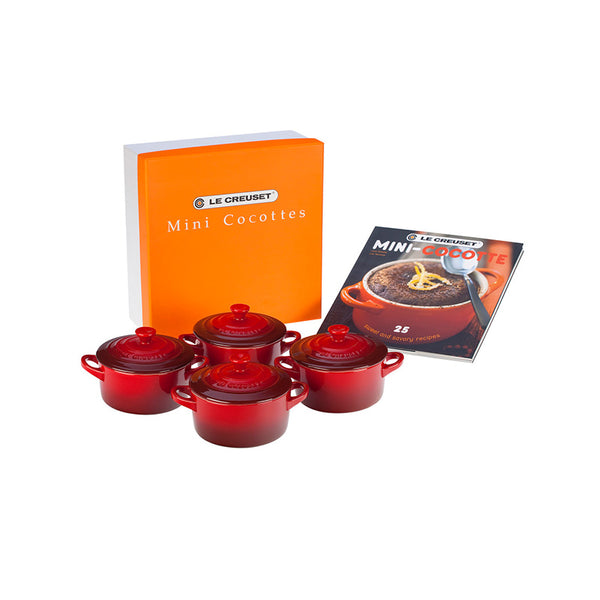 Le Creuset Set of 4 Mini Cocottes with Cookbook, 8 oz. Cerise - Kitchen Universe