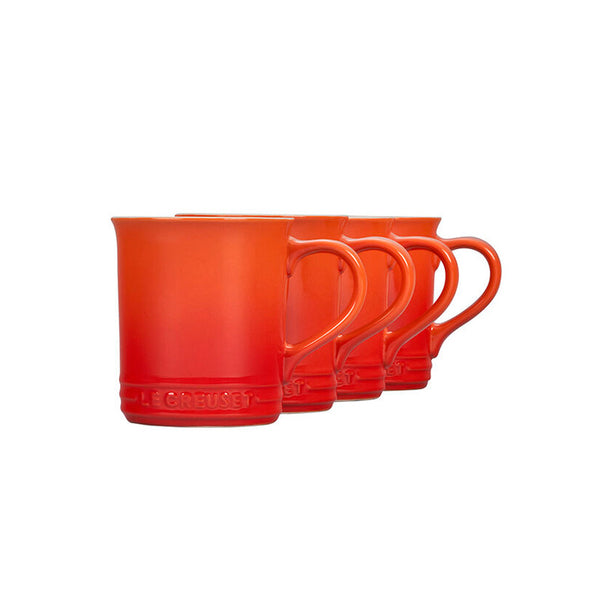 Le Creuset Stoneware Set of 4 Mugs, 14-oz, Flame
