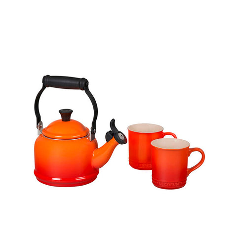 Le Creuset 3-Piece Demi Kettle & 2 Coffe Mugs Set, Flame - Kitchen Universe