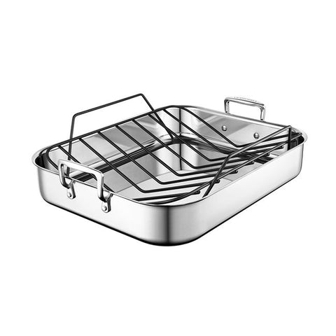 Le Creuset 3-Ply Stainless Steel Roasting Pan with Nonstick Rack 16.25 x 13.25-In