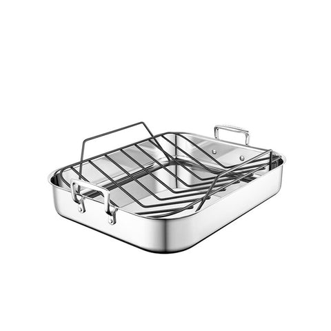 Le Creuset 3-Ply Stainless Steel Roasting Pan with Nonstick Rack 14 x 10-In - Kitchen Universe