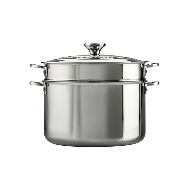 Le Creuset 3-Ply Stainless Steel Stockpot with Lid & Deep Colander Insert, 9 qt.