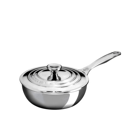Le Creuset 3-Ply Stainless Steel Sauce Pan with Lid & Helper Handle 2 qt