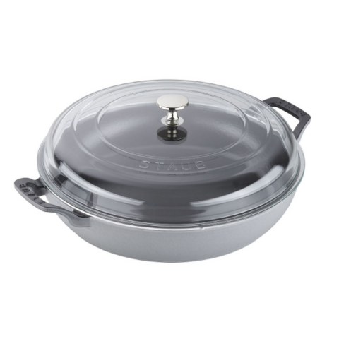 Staub Cast Iron Braiser with Glass Lid, 3.5-qt., Graphite Grey