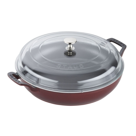 Staub Cast Iron Braiser with Glass Lid, 3.5-qt., Grenadine