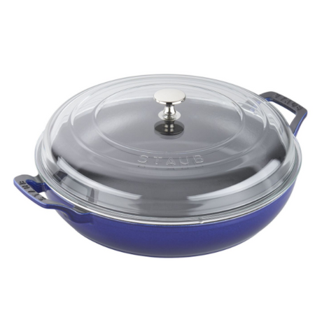 Staub Cast Iron Braiser with Glass Lid, 3.5 qt, Dark Blue