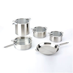 Cristel Strate L Brushed Stainless 13-Piece Cookware Set, Removable Handles - Kitchen Universe