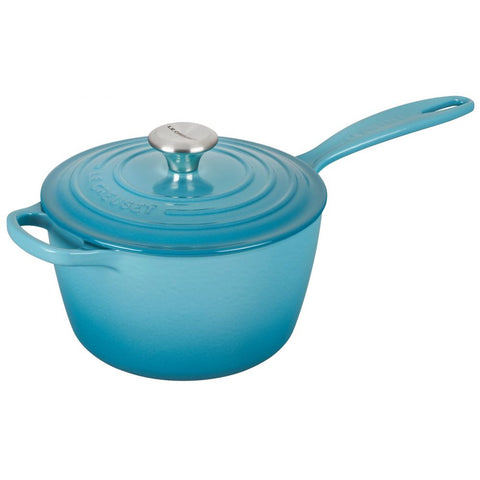 Le Creuset Signature Enameled Cast Iron Sauce Pan with Lid, 1.75 qt, Caribbean