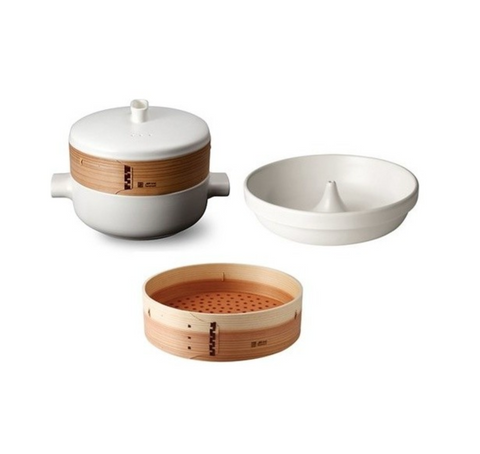 JIA Inc Steamer Set With Ceramic Steamer Pot, Lid, Cedar Wood Basket & Poacher