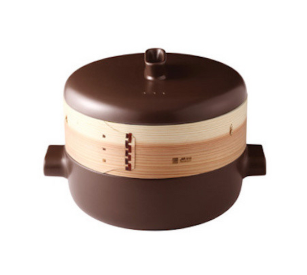 JIA Steamer Set With Ceramic Steamer Pot, Lid And Cedar Wood Basket - Kitchen Universe