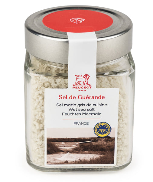 Peugeot Oléron Wet Salt Mill with Guérande Wet Sea Salt Cube, Natural