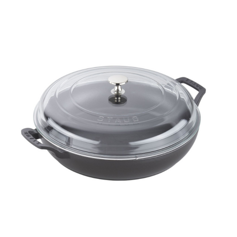 Staub Cast Iron Braiser with Glass Lid, 3.5-qt., Black