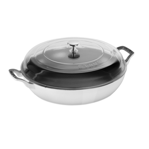 Staub Cast Iron Braiser with Glass Lid 3.5 Qt, White