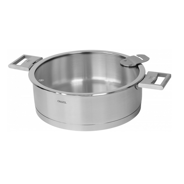 Cristel Strate L Brushed Stainless Saute Pan with Lid - Kitchen Universe