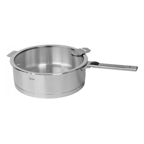 Cristel Strate L Brushed Stainless Saute Pan with Lid