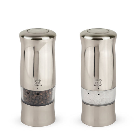 Peugeot Zeli Electric Stainless Pepper & Salt Mill Set - Kitchen Universe