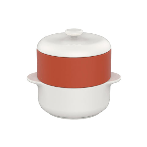 JIA Steamer II Set With White Ceramic Steamer Pot, Lid And Terra Cotta Basket