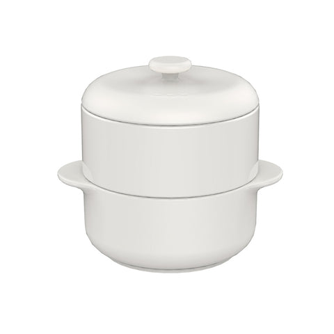 JIA Steamer II Set With White Ceramic Steamer Pot, Lid And White Basket - Kitchen Universe