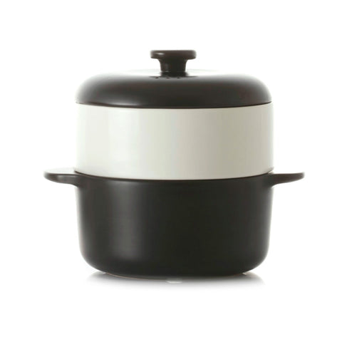 JIA Steamer II Set With Black Ceramic Steamer Pot, Lid And White Basket - Kitchen Universe