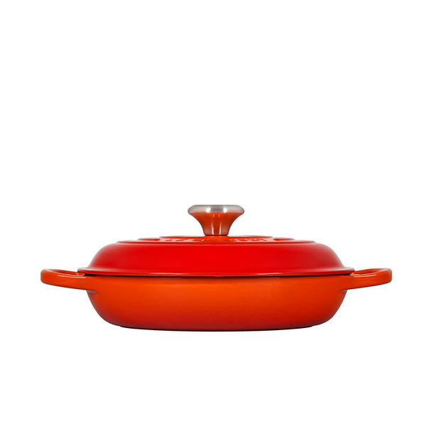Le Creuset Signature Enameled Cast Iron Round Braiser, 3.5 qt, Flame