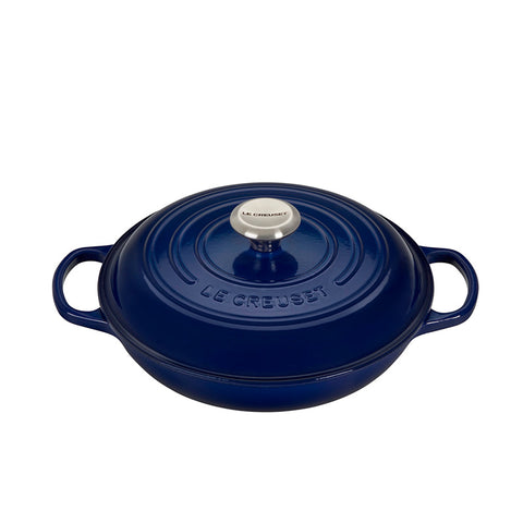 Le Creuset Signature Braiser with Stainless Steel Knob, 2.25 qt, Indigo - Kitchen Universe