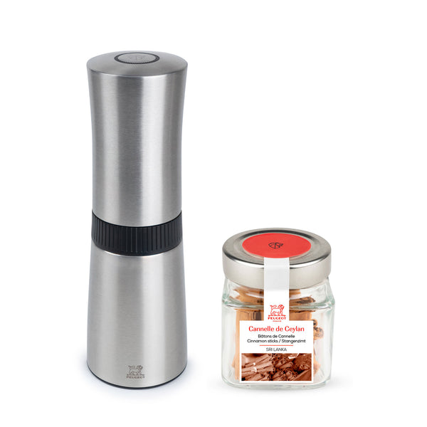 Peugeot Lanka Cinnamon Mill and Shaker with Ceylan Cinnamon Sticks Cube Set