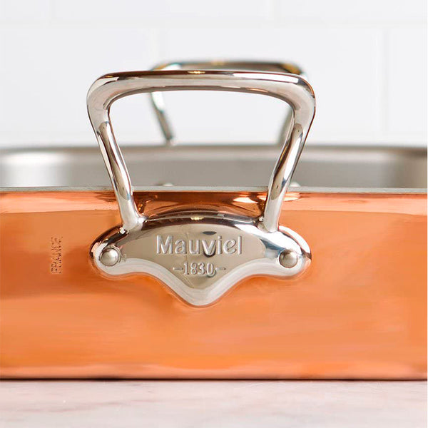 Mauviel M'heritage M150S Copper Rectangular Roasting Pan with Stainless Steel Handles, 15.7 x 12-in - Kitchen Universe