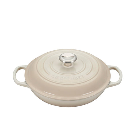 Le Creuset Signature Braiser with Stainless Steel Knob, 2.25 qt, Meringue - Kitchen Universe