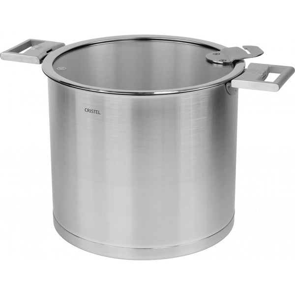 Cristel Strate L Brushed Stainless Steel Stock Pot with Lid