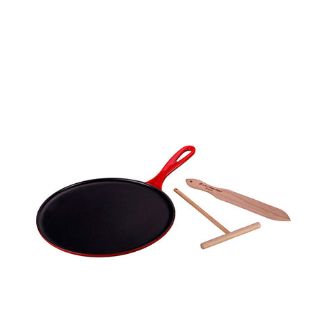Le Creuset Enameled Cast Iron Crêpe Pan with Râteau and Spatula, 10 3/4-in, Cerise - Kitchen Universe
