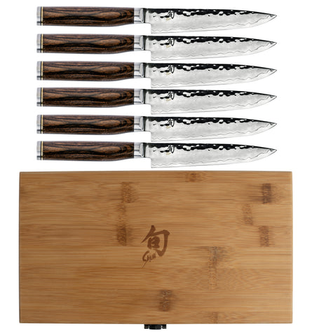 Shun Premier 6-Piece Steak Set Knife with Bamboo Storage Box