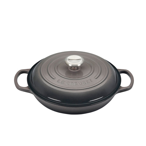 Le Creuset Signature Braiser with Stainless Steel Knob, 2.25 qt, Oyster - Kitchen Universe