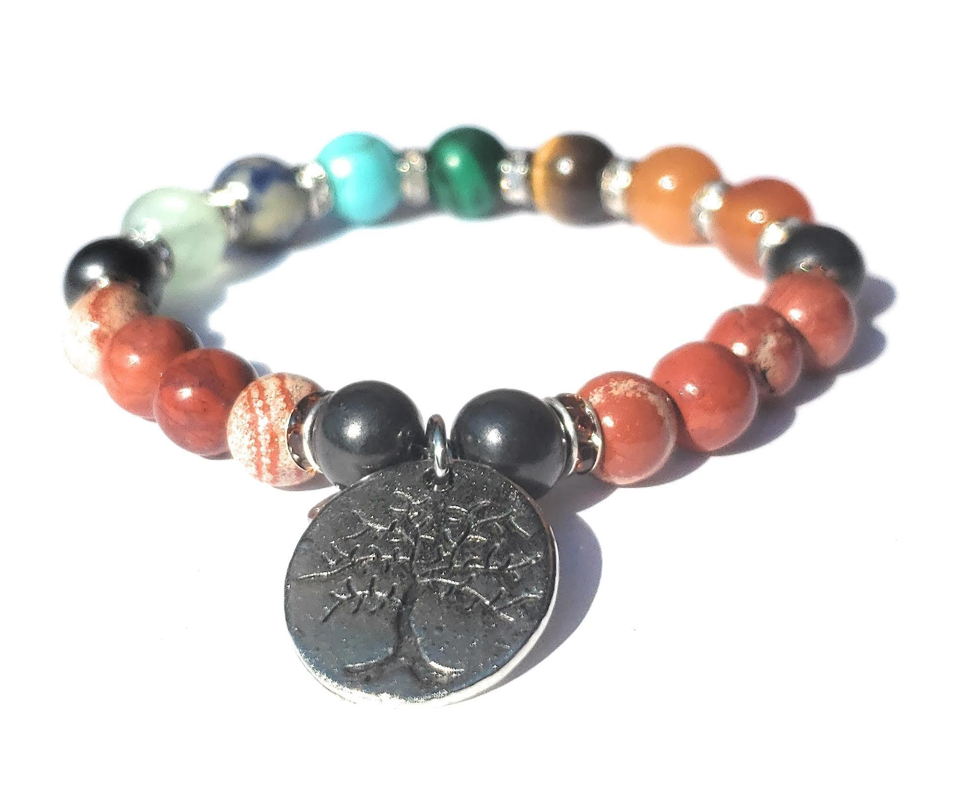 Shungite and Red Jasper Chakra Bracelet (Root Chakra) - Tree of Life