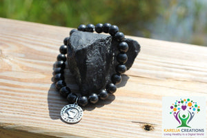 Shungite Fist of Courage Bracelet: Dream, Brave, Hope, Strong (8mm Beads, Adult) - Karelia Creations