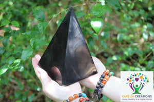 XL Polished Shungite Pyramid - 6.5 inch Power Pyramid - Collodial Silver for Amplification - Karelia Creations