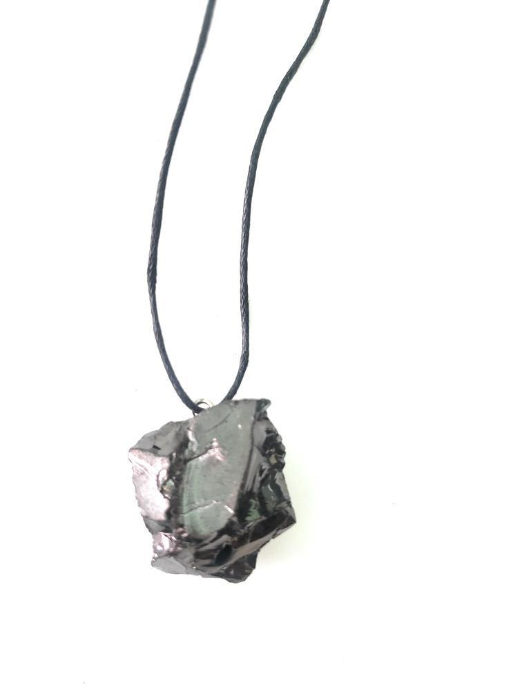 Smaller Elite Noble Raw Shungite Pendant and Necklace - Karelia Creations