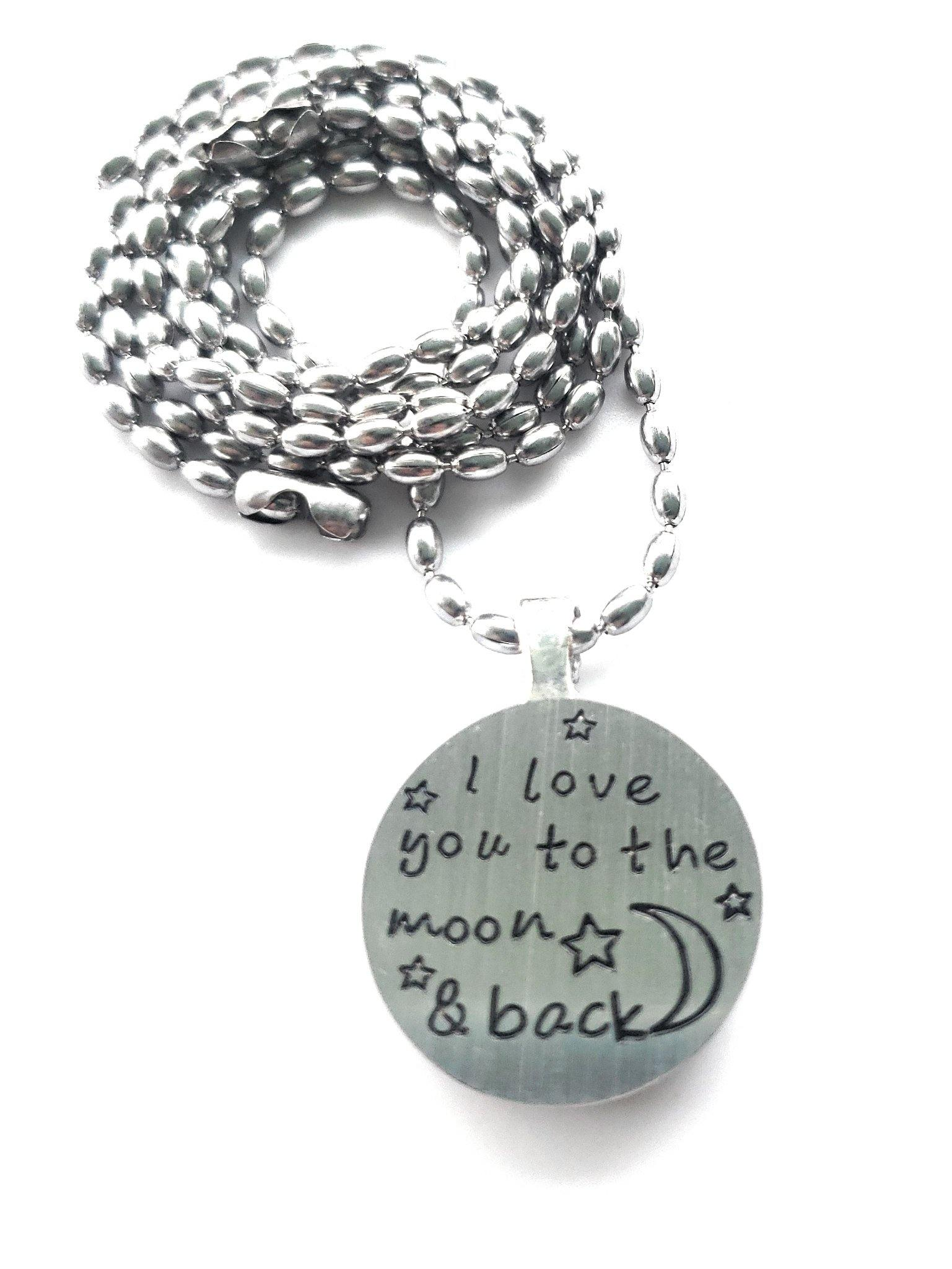 NEW DESIGN - Shungite Pendant: Love You to the Moon & Back