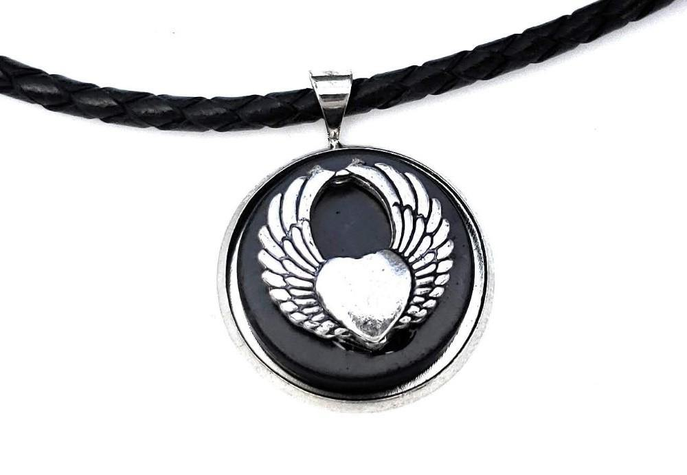 Shungite & Silver Plated Angel Wings Pendant and Leather Necklace - Karelia Creations