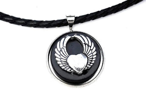 Shungite & Silver Plated Angel Wings Pendant and Leather Necklace