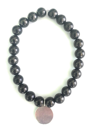Shungite Fist of Courage Bracelet: Dream, Brave, Hope, Strong (8mm Beads, Adult)