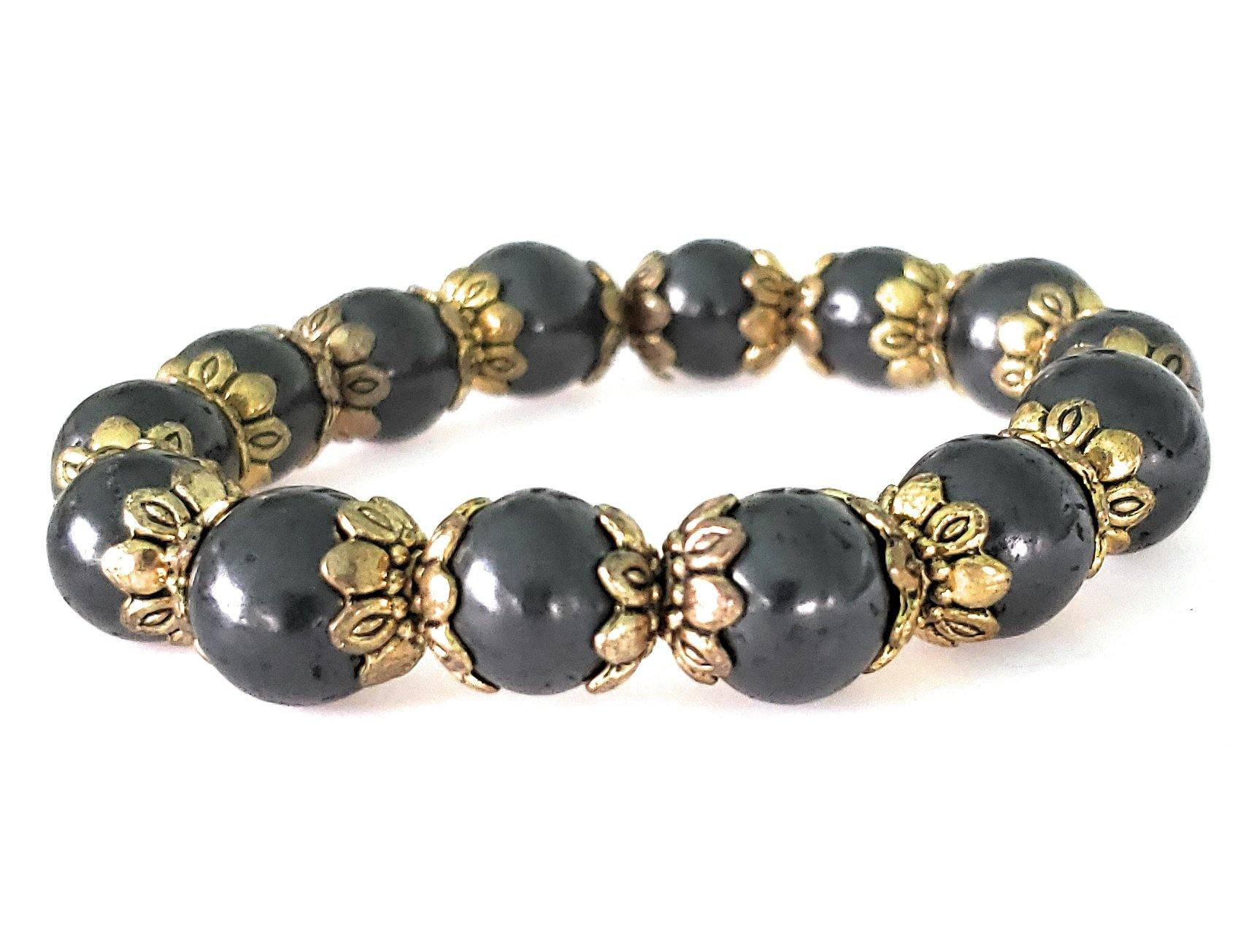 Shungite Bracelet - 8mm Gold Accent, Adult - Karelia Creations
