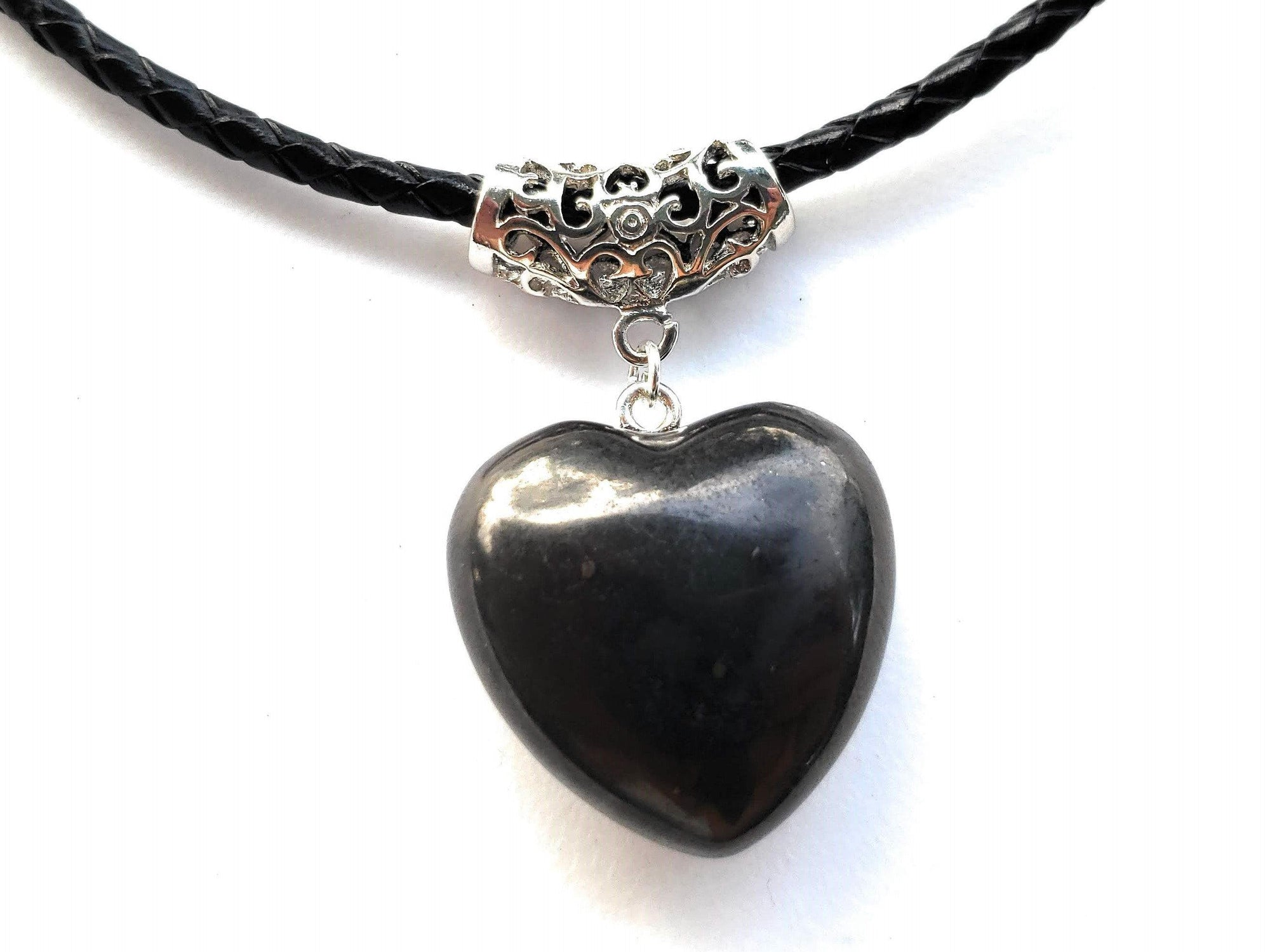 Puffy Heart Polished 100% Shungite Pendant and Leather Necklace - Karelia Creations