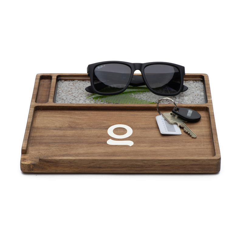 ONGROK Premium Natural Hardwood Rolling Tray  and Accessory Holder